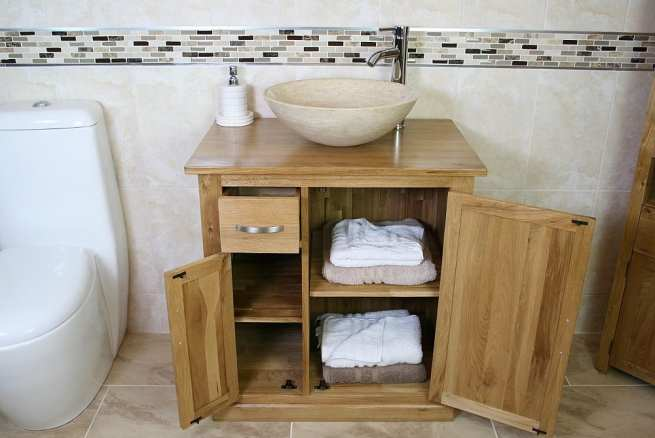 Travertine Basin and Oak Vanity Storage Unit