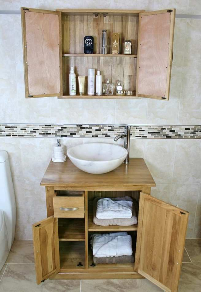 Bathroom Storage Units and White Marble Basin
