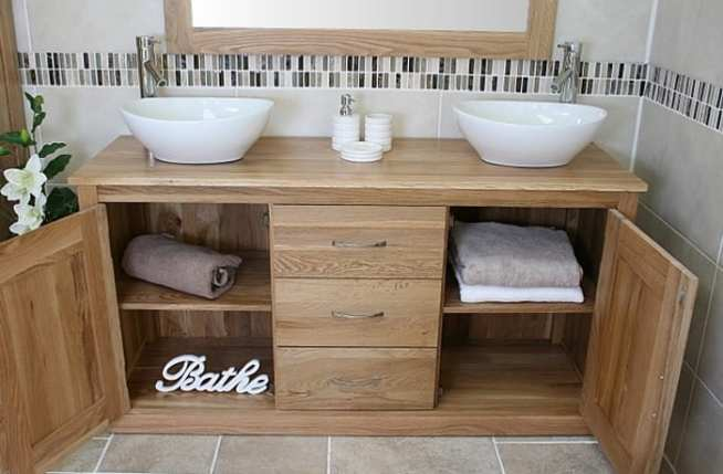 Large Oak Top Vanity Unit with Twin Oval Ceramic Basins with Open Shelves