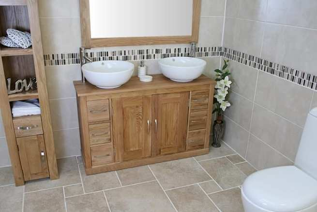 Large Oak Top Vanity Unit with Two Round White Ceramic Basins
