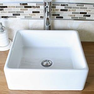 White Square Ceramic Basin - Close-up