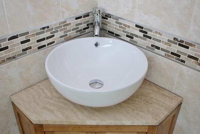 Travertine Top Corner Vanity Unit with Curved Round Ceramic Basin & Chrome Mixer Tap