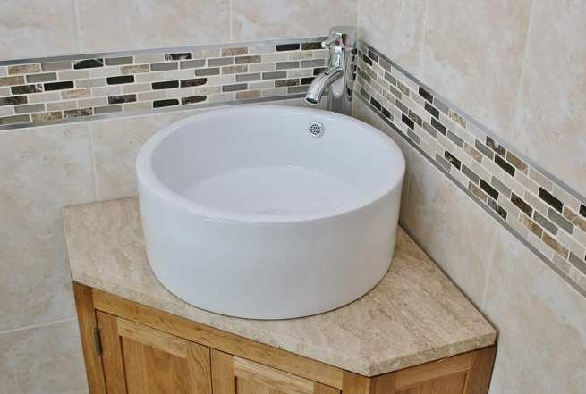 Travertine Top Corner Vanity Unit and Round Ceramic Wash Basin