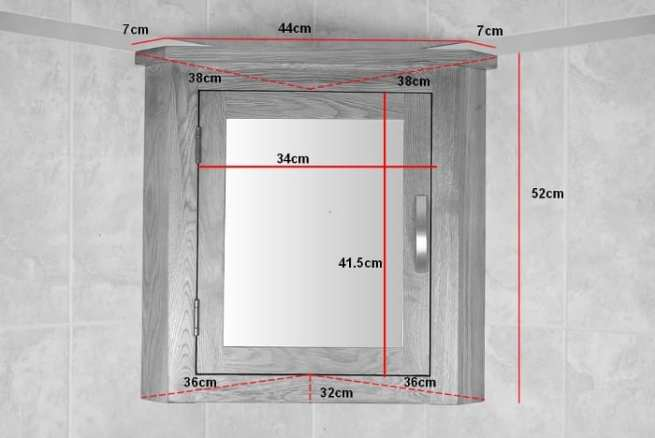 Oak Mirror Bathroom Cabinet - Measurements