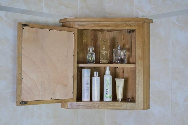 Open Oak Mirror Bathroom Storage Cabinet