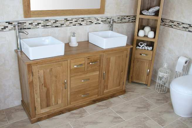 Large Oak Top Vanity unit with Two Stunning White Ceramic Square Bathroom Basins