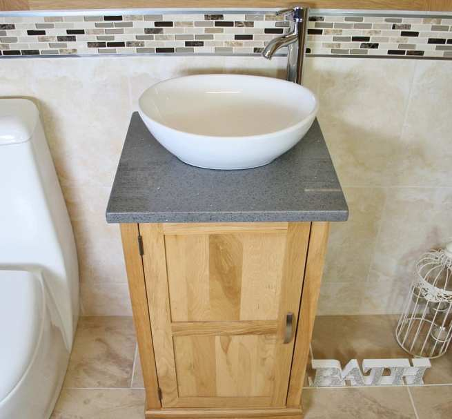 Oval White Ceramic Basin on Grey Quartz Topped Compact Oak Vanity Unit