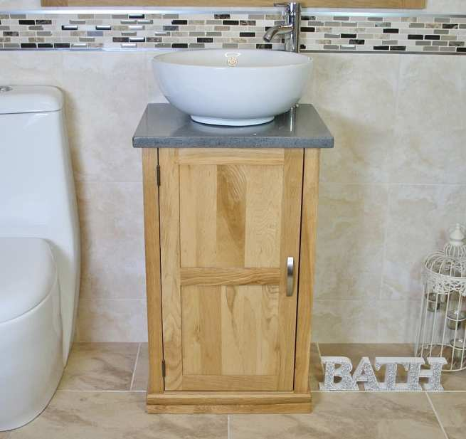 Grey Quartz Topped Small Vanity with Round Curved Ceramic Bathroom Basin