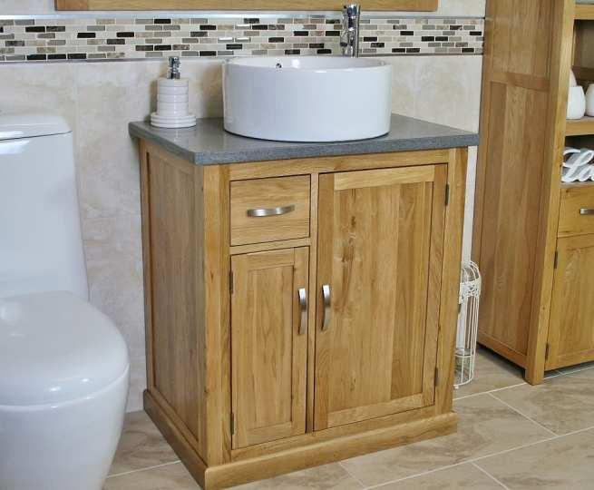 Grey Quartz Top Vanity Unit with Round White Ceramic Basin - Far Side View