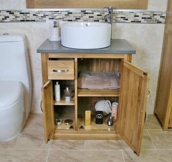 Open Grey Quartz Top Vanity Unit and White Round Ceramic Basin - Lots of Storage