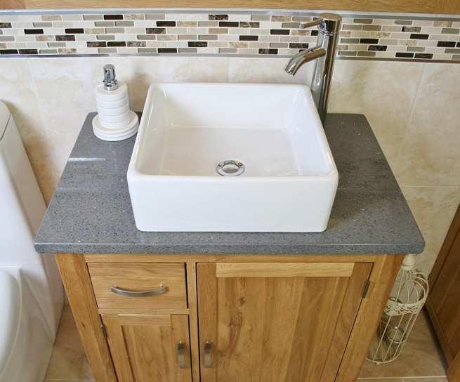 Square Ceramic White Bathroom Basin on Grey Quartz Top Vanity Unit