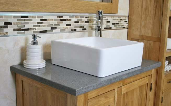 Square White Ceramic Bathroom Basin on Grey Quartz Top Vanity - Side View
