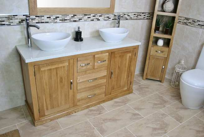 White Quartz Top Double Basin Oak Vanity Unit - Side View