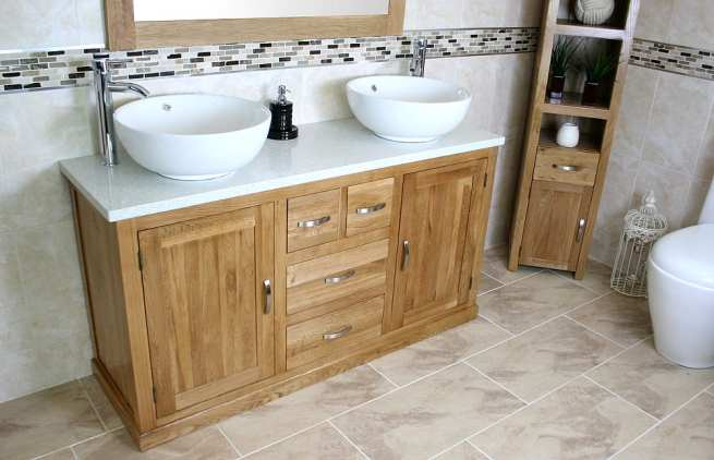 White Quartz Top Double Ceramic White Basin Vanity Unit