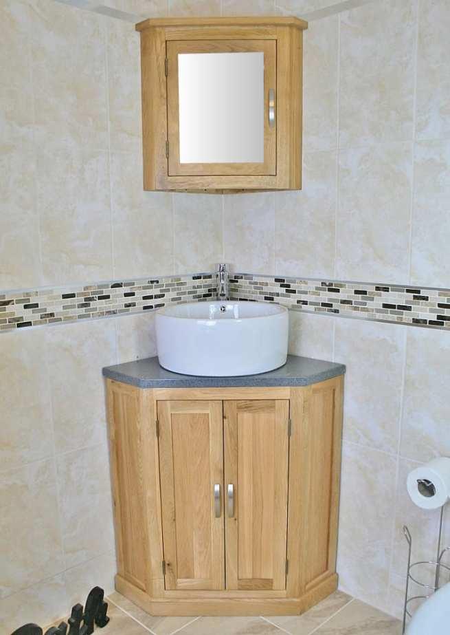 Grey Quartz Top Corner Vanity Unit with Round Ceramic White Basin & Mirror Bathroom Cabinet Set