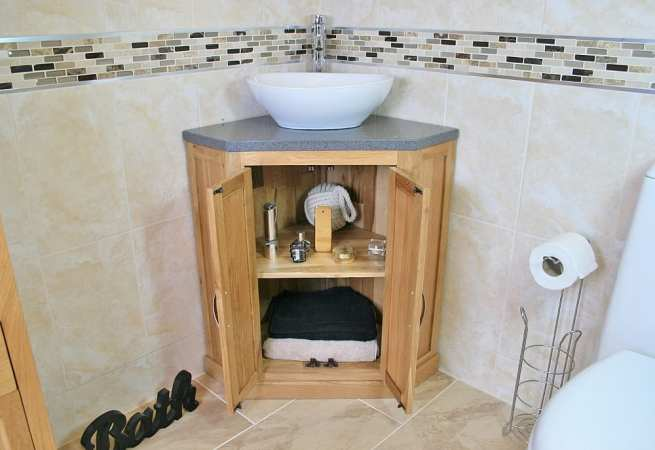 Open Corner Vanity Unit with Grey Quartz Top & White Oval Ceramic Bathroom Basin