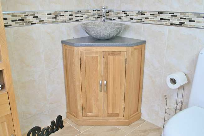 Grey Quartz Top Corner Vanity Unit with Grey Marble Basin