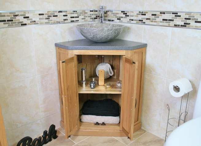 Grey Quartz Top Corner Vanity Unit with Grey Marble Basin, Open Storage