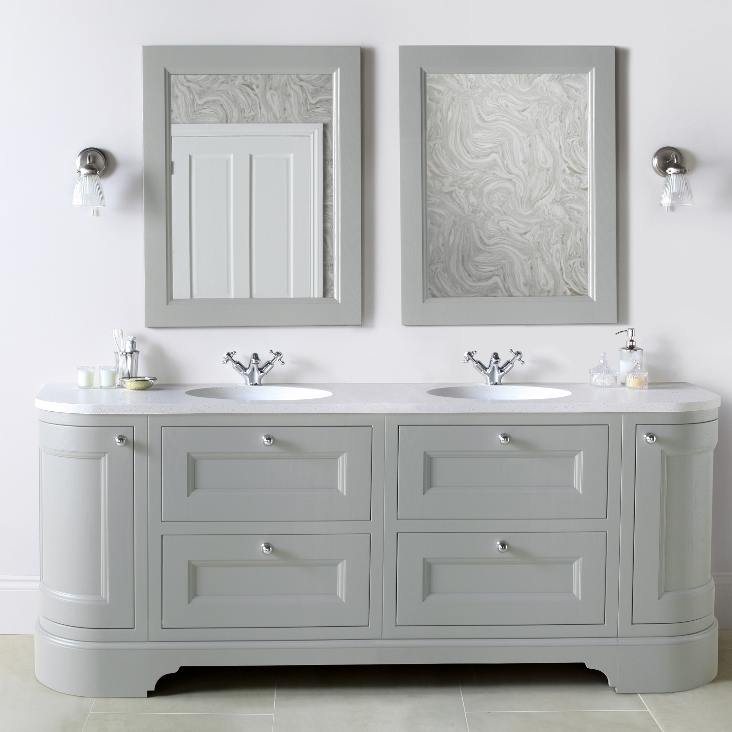 Burbidge Tetbury 2030mm Double Curved Vanity Unit Worktop With Two Integral Basins Bathrooms Direct Yorkshire