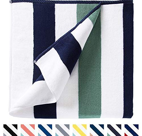 Rosybeat Beach Towels Pool Towels with Plush 100/% Cotton Extra Large Soft Colorful Comfort Classic Design Velour Stripes for Summer Sunbathing and Pool Side Lounge Travelling 70x35 Inch//180x87Cm 1PCS