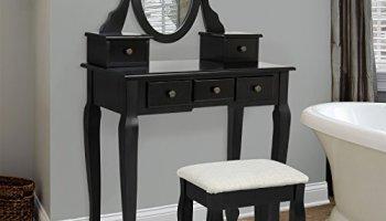 Black Vanity Table With Drawers. Bathroom Vanity Table Jewelry Makeup Desk Bench Drawer Hair Dressing  Organizer SONGMICS Set Tri folding Mirror Make up