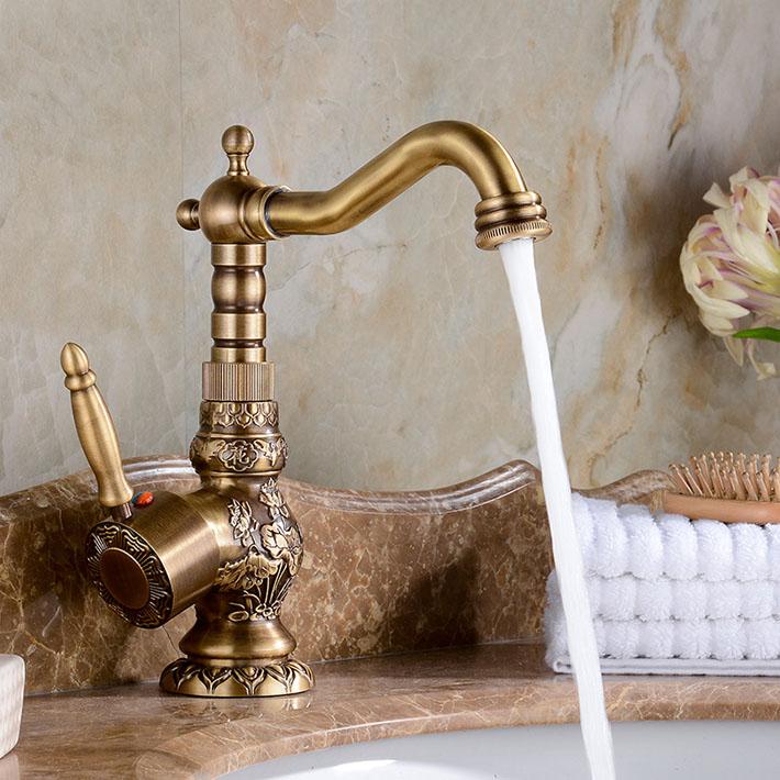 bathselect attica antique bronze bathroom sink faucet with hot cold mixer