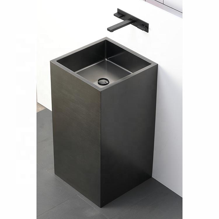 bathselect cube shaped solid brass freestanding pedestal bathroom sink in dark oil rubbed bronze finish