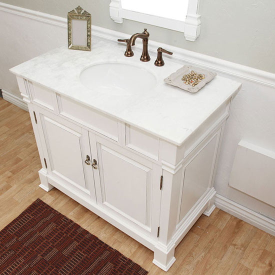 harlow (single) 42-inch traditional bathroom vanity - white