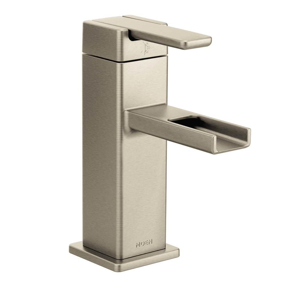 90 degree single hole 1 handle mid arc lavatory faucet in brushed n
