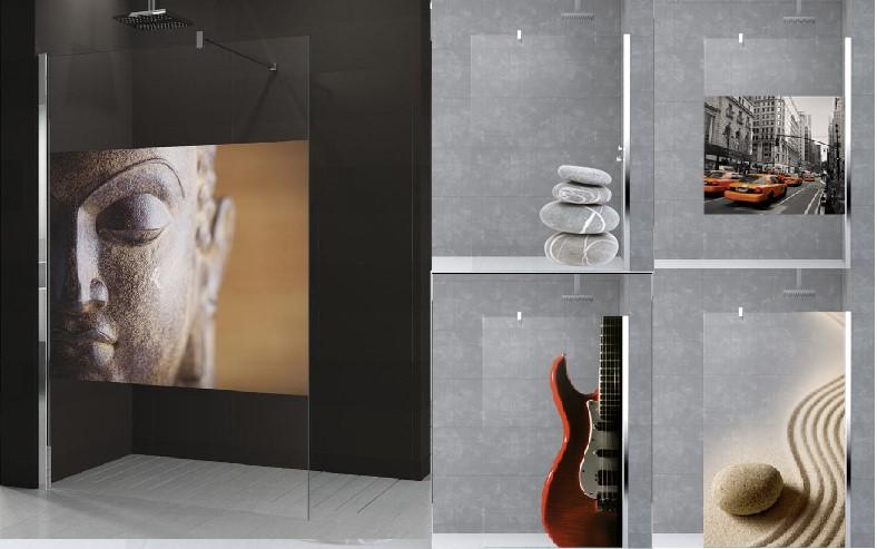 Paroi de douche verre avec impression photo Novellini Kuadra