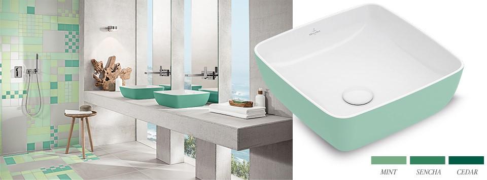 Salle de bain tendance dans les tons vert.