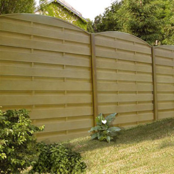 cloture double face a lames ou panneaux en beton imitation bois gamme modula