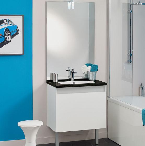Meuble Vasque Salle De Bain 1 Grand Tiroir Avec Miroir Et Applique Led Teo 1 Tiroir Chene Vert