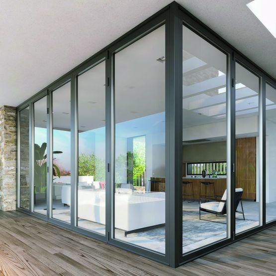 porte fenetre repliable pour baie d angle de grandes dimensions ambial d angle