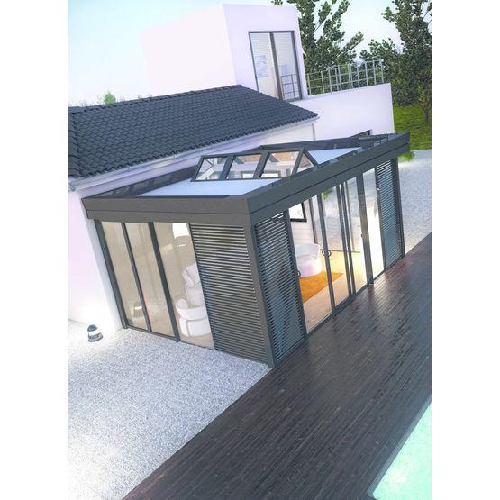 veranda a ossature bois et menuiserie aluminium icone