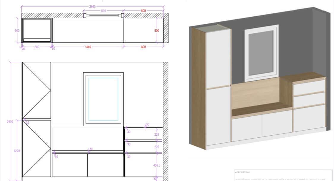 plan 3D conception meuble placard entree