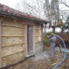 Projection de béton de chanvre en isolation par l'extérieur - Castillon Debats