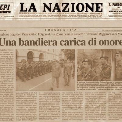 """02 settembre 2001 Il Battaglione Logistico Paracadutisti """"Folgore"""" cessa di esistere"""