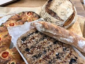 fougasse, sangak, baguette and no knead loaf