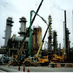 Drilling foundations in a refinery