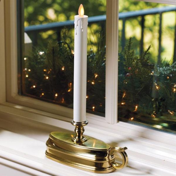 Luminara Window Candle Battery Operated 12 Inch Brass