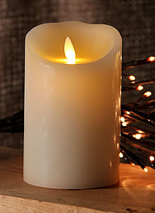 Moving Flame Ivory Candle Battery Operated 3.5 x 5 Timer - Free Remote
