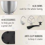 Robot Patissier Multifonctions Puissant   6 Vitesses   4 Accessoires Inclus – Fouet Feuille – Fouet Ballon – Crochet à Petrin   * Livre recette *
