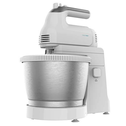 Cecotec Robot Pâtissier PowerTwist 500 Steel. Bol Auto-giratoire en Acier Inoxydable, 3.5 L de Capacité, 5 Niveaux de Vitesse, Fonction Turbo, et 3 Accessoires, Moteur de 500 W.