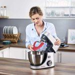 Moulinex QA530D10 Robot Pâtissier Masterchef Gourmet avec Bol Silicone Delica'Tool 8 Vitesses Pulse Pétrin Fouet Flex Batteur Électrique 1100W Cuisine Silver