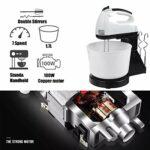 Batteur à main électrique, batteur à oeufs à fouet électrique avec pot cuisson des aliments de cuisine à 7 vitesses pour la cuisson des gâteaux de cuisson Mini batteur à la crème aux œufs