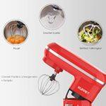 KUPPET Robot Pâtissier 1300W, avec Bol d'Acier Inox 4,5L, Vitesse Réglable à 10 Niveaux,Mélangeur à tête inclinable avec crochet à Pâte et Fouet ,Accessoires Inclus Batteur(Rouge)