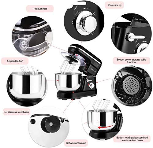 Nestling® 5L Robot Pâtissier, Faible Bruit Batteur Électrique, 3 en 1 avec Batteur, Fouet and Crochet, 5 Vitesses, avec Bol D'Acier inox Robot Multifonctionne 1200W black