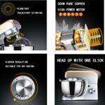 JHNEA Robot Pâtissier, 800W, Robot Pâtissier avec Bol d'acier INOX 5L,à 8 Vitesses Robot Pétrin avec Fouet à Fils,Batteur,Crochet,800W