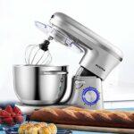 Aucma Robot Pâtissier Multifonctions,6.2 L Robot Cuisine,Robot Mixeur Pâtisserie Robot avec Fouet à Fils, Batteur,Crochet à Pétrin,6 Vitesses Batteur Electrique avec Fonction Pulse,1400W,Argent